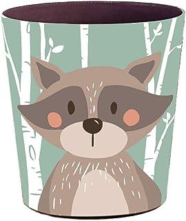 B/är 12L Leder Cartoon Tier M/ülleimer Papierkorb mit Metall Pre/ßring Papierkorb Motif f/ür Kinderzimmer B/üro K/üche Batop Papierk/örbe Kinder