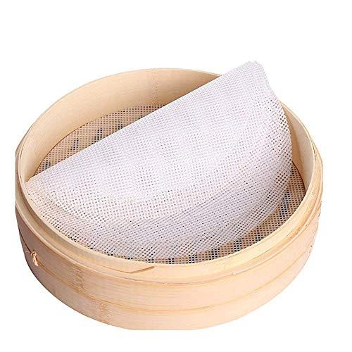 MLIAN Silikon-Steamer Küchen-Pad rund, wiederverwendbar, für Dampfgarer, Bambus, 20 cm, 5 Stück
