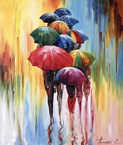 mlpnko DIY Pintar por números Paraguas de Colores Pintura por Números para Adultos, DIY Pintar por Numeros Kits sobre Lienzo para Estudiantes