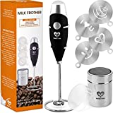 High Powered Milk Frother COMPLETE SET - Handheld Battery Operated Foam Maker - Electric Wand Drink Mixer - Frappe Matcha Cappuccino Latte Bulletproof Coffee Foamer - Stainless Steel Whisk - Powder Cocoa Shaker - Coffee Decorating Stencils - Art Set