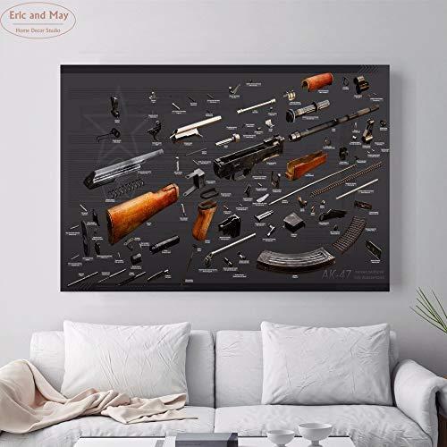 jzxjzx AK 47 Dettagli Stampa su Tela Vintage Stampa Poster per pareti Immagine per Soggiorno Decorazioni per la casa Decorazioni per la Camera da Letto Senza Cornice