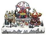 25 twentyfive Pueblo de Navidad en Movimiento con Parque de Atracciones, música y Luces - 60 x 48 x 49 cm