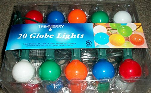 Set of 20 Green, Red, Blue, Orange & White Christmas Globe Indoor/Outdoor String Lights