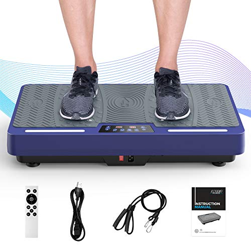 RINKMO Vibration Plate Exercise Machine, Whole Body Workout Vibration Fitness Platform with Loop Bands LED Light Speaker, Home Fitness Training Equipment for Weight Loss Blue