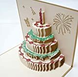 Happiest お誕生日 バースデーカード お祝い 立体 ポップアップ グリーティング メッセージ カード (ゴールド)