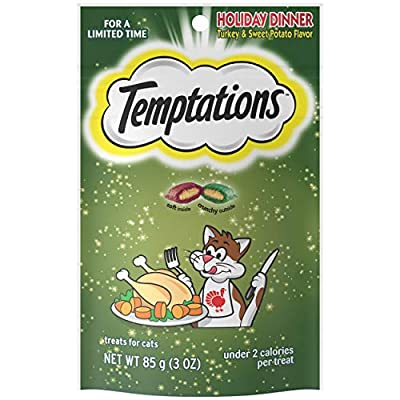 TEMPTATIONS Classic, Crunchy and Soft Cat Treats, Holiday Dinner Turkey and Sweet Potato Flavor, 3 oz. Pouch