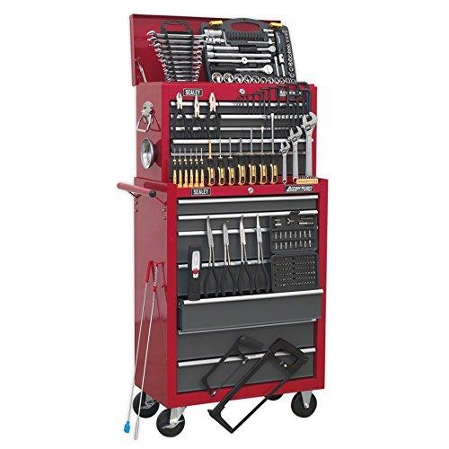 Sealey Werkzeugwagen AP2250BBCOMBO mit 239 Teilen, 14 Schubladen zur Aufbewahrung, Rot/Grau