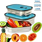 Stainless Steel Square Lunch Box Bento Box,TKSTAR 3 Pieces Food Container Set,Eco Friendly