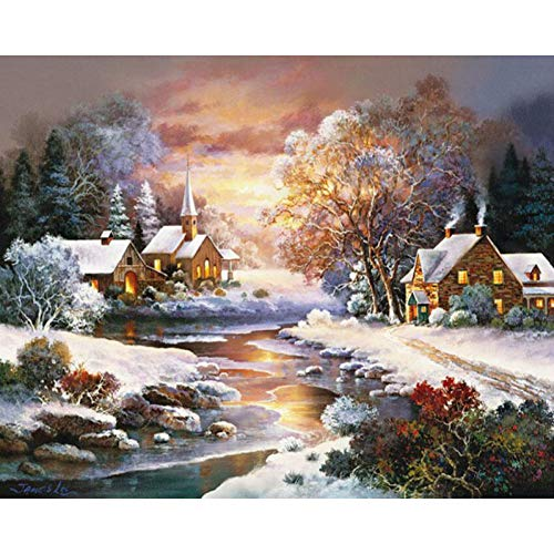 HHXXTTXS DIY digitales Ölgemälde Erwachsenen Landschaft-Winter Schnee Abend Gemälde Set Dekompression Heimdekoration Gemälde 16X20 Zoll