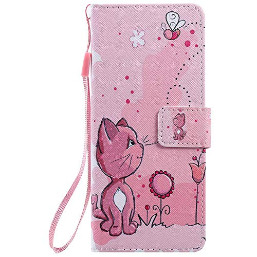 Phone Case for Sony Xperia 20 Leather Case, Premium Flip Leather Wallet Phone Case PU Cover [Kickstand] [Card Slots] [Magnetic Closure] Full Protection Cover for Sony Xperia 20 - Cat and bee