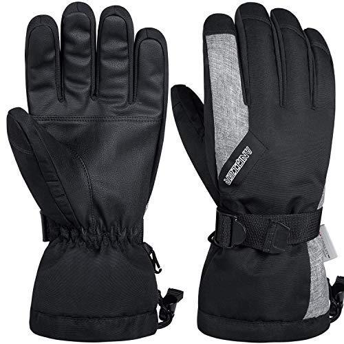 Anqier Winterhandschuhe Herren Damen Wasserdicht Skihandschuhe Warm Fahrradhandschuhe Thermohandschuhe 3M Thinsulate Handschuhe für Motorrad Snowboard Radfahren