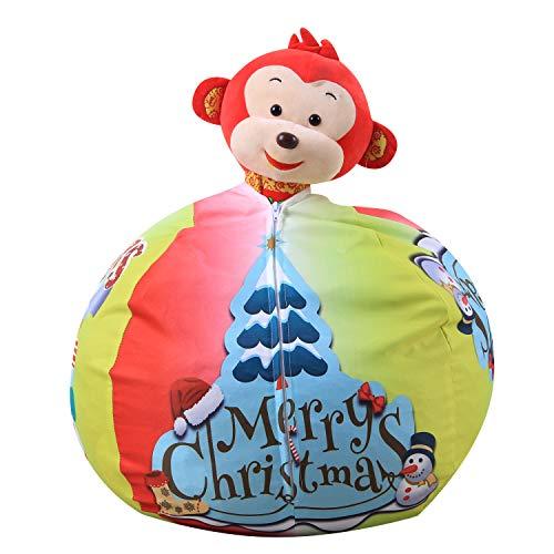 FANG Canvas clothing storage bean bag, plush toy storage bag, multi-function organizer bag (Christmas tree),38inch
