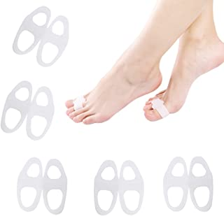 ewinever(R) 5 Pairs Revolutionary New Designed Stable 2 Holes Toe Separator Corrector Protect Bunion Straightener Hallux Valgus