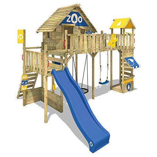 WICKEY Speeltoestel voor tuin Smart Ranger met schommel en blauwe glijbaan, Houten speeltuig, Speelhuis voor buiten met zandbak en klimladder voor kinderen