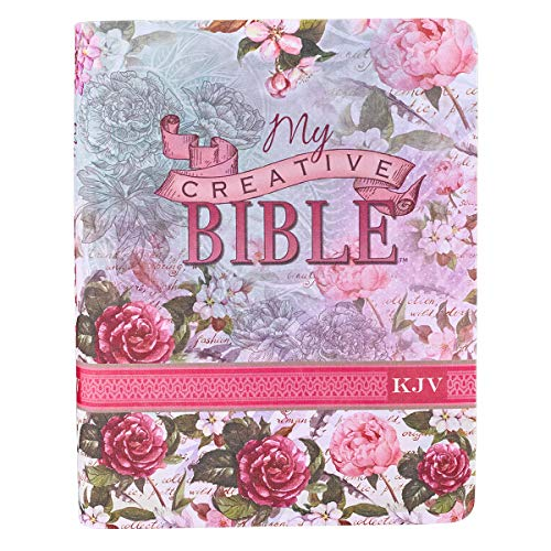 KJV Holy Bible, My Creative Bible, Silky Floral Flexcover Journaling Bible w/Ribbon Marker, 400 Scripture Illustrations to Color, King James Version