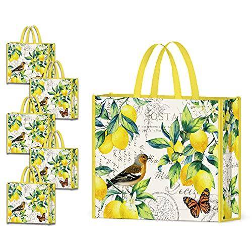 NymphFable 5 Pcs Sac Courses Reutilisable Papillon Oiseau Citrons Cabas De Courses Lavables Grand Tote Bag