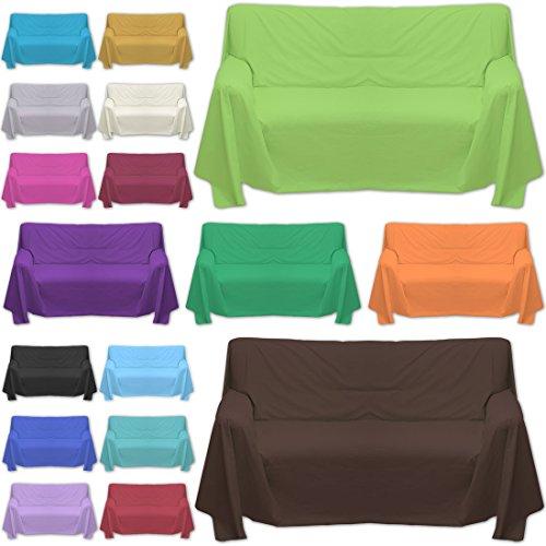 Qool24 Sofaüberwurf große Farb und Größenauswahl dicht gewebter Baumwollstoff Überwurf Braun 200x200cm