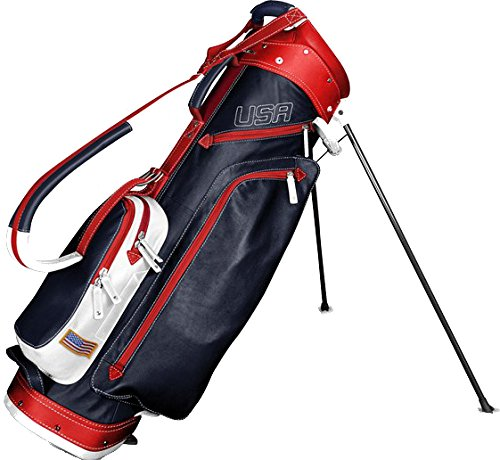 Find Discount Sun Mountain Leather Stand Bag (Navy/White/Red)