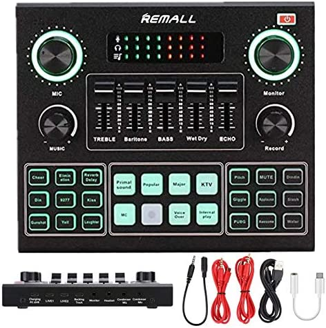 REMALL Live Sound Card for Live Streaming Upgraded V8 Sound Card with Effects Audio Mixer for product image