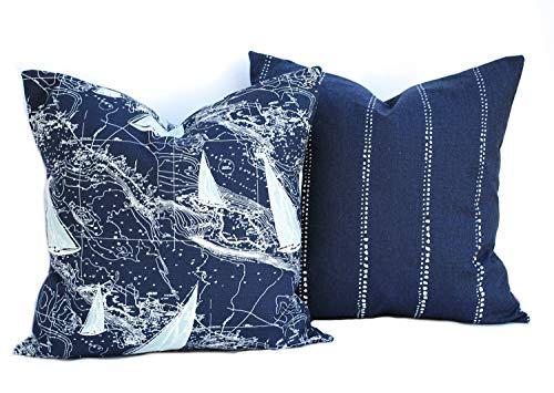 Ol322ay Kussensloop, nautische kussenslopen, decoratief sierkussen, accent, kussen, navy Throw Pillow gestreept, Pillow Sail Boot