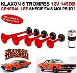 LCM2014 exclusivite. Enorme Klaxon General Lee 12V 145db Sherif fais Moi Miedo. 5trompes 12V 100% Completo Montaje 5MN.