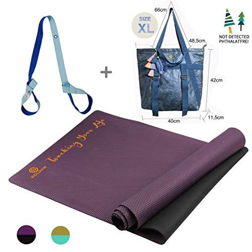 GOLDEN® antislip yogamat van natuurlijk rubber - sportmat voor thuis - XL [183 x 66 x 0,4 cm] - 100% natuurlijk en ecologisch-Ideal voor fitness pilates & gymnastiek, met yoga tashe & riem