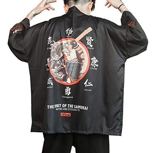Hombres Vintage Japonés Kimono Camisa Haori Cloak Abrigo Estampado Manga Larga Holgado Cárdigan