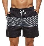 SILKWORLD Men's Swim Trunks Quick Dry Bathing Suit, Beach Shorts with Mesh Lining,Black + White Stripes, Medium