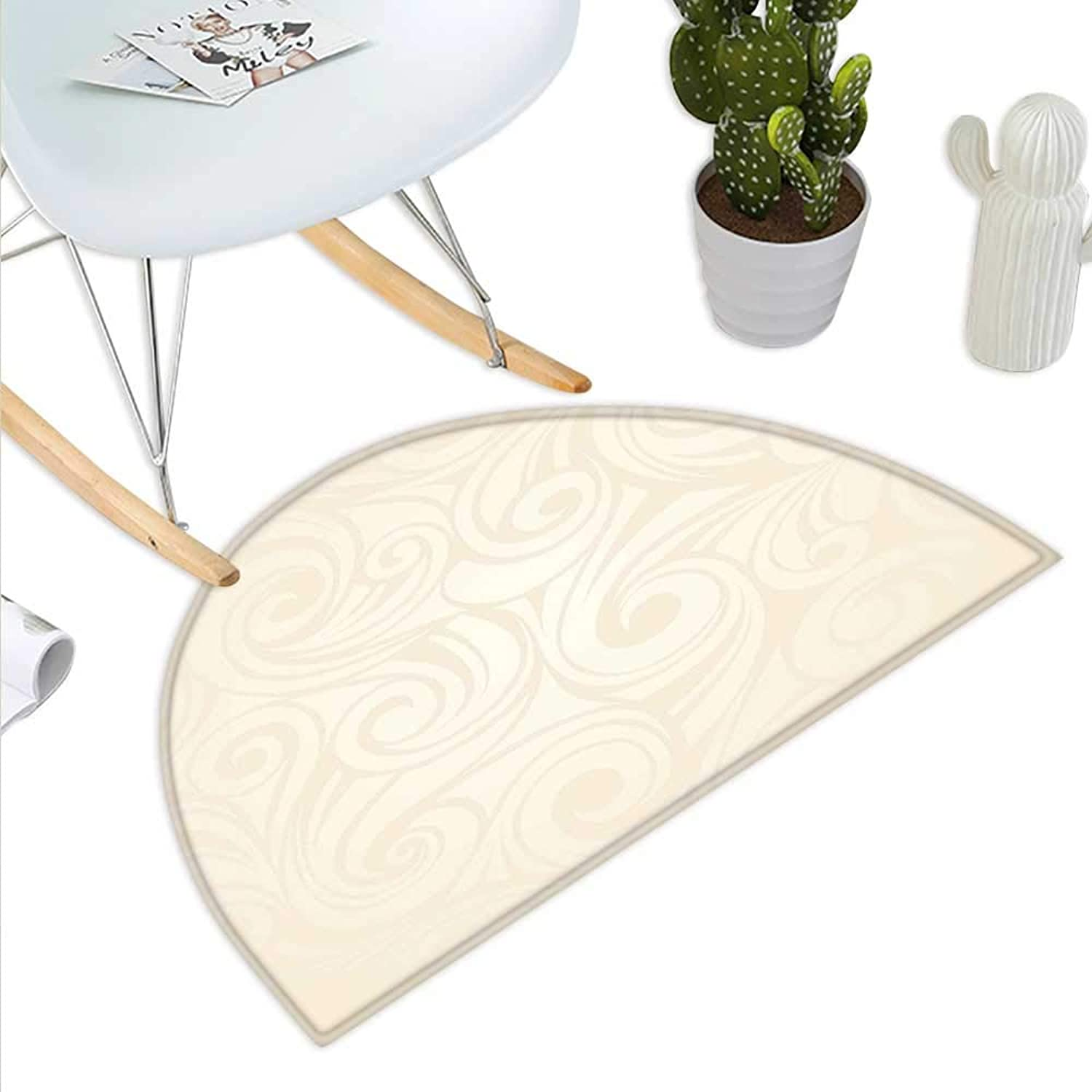 Ivory Semicircle Doormat Victorian Curved Renaissance Style Leaves Branches Artistic Classic Petals Illustration Halfmoon doormats H 43.3  xD 64.9  Cream
