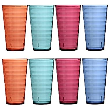 US Acrylic Splash 18-Ounce Plastic Tumblers | Set of 8 in 4 Assorted Colors