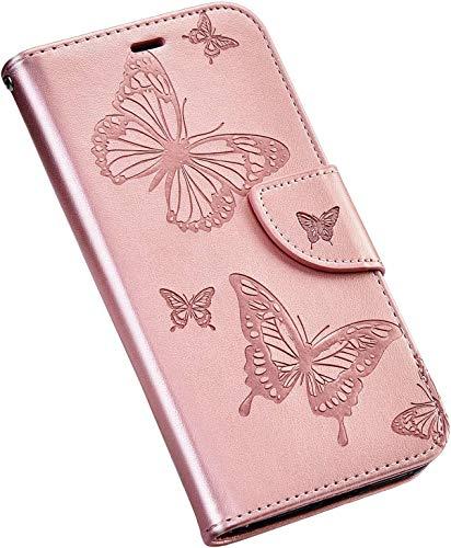 QPOLLY Cover Compatibile con Nokia 3.2, Custodia Farfalla Disegni Pelle PU Portafoglio Libro Flip 360 Gradi Chiusura Magnetica Protettiva Cover con Porta Carte Funzione Supporto,Oro Rosa