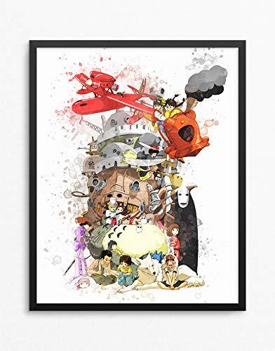 Studio Ghibli Print, Studio Ghibli Poster, Hayao Miyazaki, Anime Print, Anime Poster N.011 (12 x 16 inch)