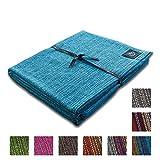 Craft Story Decke Yara I Uni türkis aus 100% Baumwolle I Tagesdecke I Sofa-Decke I Überwurf I Bedspread I Plaid I 170 x 220cm