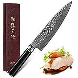 HEZHEN Kochmesser 20.2cm, Japanisches Damaskus Super Steel Chefmesser VG10 Gyuto Profi...