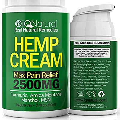 Hemp Cream for Pain Relief - Natural Hemp Oil Extract Lotion for Joint & Muscle Pain - Extra Strength Hemp Cream Topical Salve | Arnica Cream 3.4 oz from IQ Natural