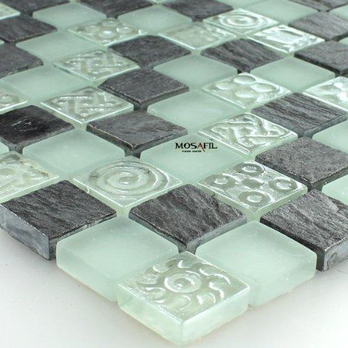 Glas Marmor Naturstein Mosaik Fliesen Türkis Schwarz