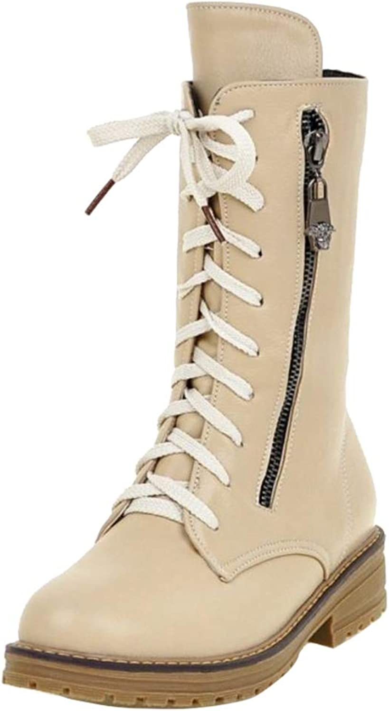 Onewus Women Casual Martin Mid Calf Boots