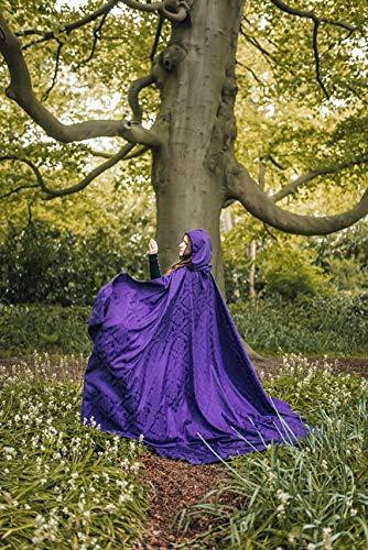 Capa lfica cosplay bruja mago damasco morado prpuracon cola y capucha extra larga