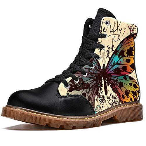 Botas de combate con cordones para mujer, con diseño de mariposa y alas coloridas y flora, de tacón bajo, para invierno, para mujer, color, talla 37.5 EU