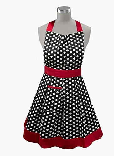Kovot - Delantal de cocina para mujer, 100% algodón, fabricado en la India, diseño de lunares, color negro y blanco