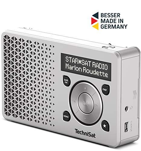 TechniSat DIGITRADIO 1 – tragbares DAB+ Radio mit Akku (DAB, UKW, FM, Lautsprecher, Kopfhörer-Anschluss, Favoritenspeicher, OLED-Display, klein, 1 Watt RMS) silber