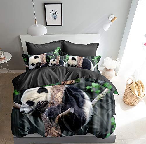 Juego de cama 3D con oso panda y funda nórdica de 135 x 200 cm y 80 x 80 cm, doble cara, negro, verde y gris, con cierre