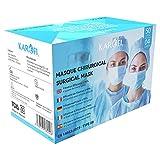 KAROFI - Mascherine Chirurgiche TIPO IIR (II R, 2R) MEDICO, 4 STRATI, BFE  99%, testate e approvate, certificate CE EN14683 : 2019, pacco da 50