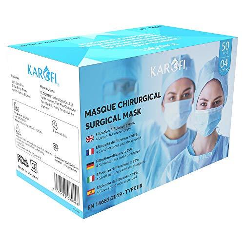 KAROFI - Mascarillas Quirúrgicas Tipo IIR (II R, 2R) Medico, 4 Capas, BFE > 99%, probadas y aprobadas, certificadas CE EN14683:2019, Caja 50 Unidades