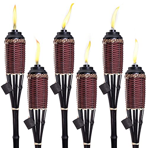 Bamboo Torches; Decorative Torches; Fiberglass Wicks; Extra-Large (16oz) Metal Canisters for Longer Lasting Burn; Stands 59' Tall; Multiple Styles Available (Burnt Sienna, 6 Pack)