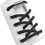 Black Elastic No Tie Shoelaces Half Round 1/4', Stretch Tieless Shoe Laces Strings For Adults Kids Sneakers, Oval Athletic Shoelaces No Tie [1 Pair, Black]
