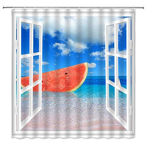 lovedomi Ocean Duschvorhang Wassermelone Fenster Sommer Kreativ Blau Weiß Badezimmer Gardinen Dekor Polyester Stoff Schnell Trocknend 183 x 198 cm Inklusive Haken
