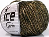 Rock Star, Gold, Black, Metallic Shine, Soft Nylon Merino Wool Acrylic Blend Yarn, 50 Gram