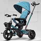 Jixi Triciclo de niños Plegable Portátil Bicicleta de niño con Pedal...