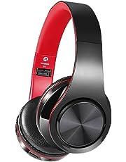 Bluetoothヘッドフォン、NewpowerプロフェッショナルワイヤレスV4.2折り畳み式オーバーイヤーHi-Fiステレオヘッドセット、マイクロフォン付きハンズフリー通話用スマートフォン/TV / PC/ラップトップ/マイクロSDカード/ MP3プレーヤー/ FMラジオ/仕事/男性/女性/子供/ゲーム/スポーツ/PUBG / LOL(黒と赤)